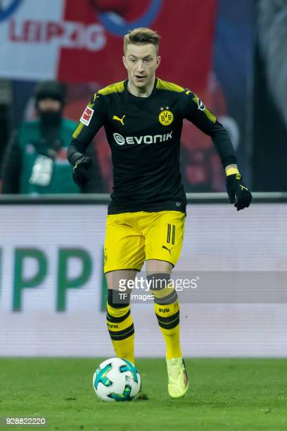 Marco Reus of Dortmund controls the ball during the Bundesliga match between RB Leipzig and Borussia Dortmund at Red Bull Arena on March 3 2018 in...