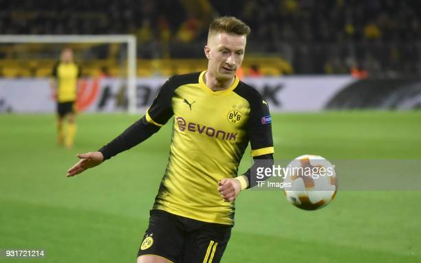 Marco Reus of Dortmund controls the ball during UEFA Europa League Round of 16 match between Borussia Dortmund and FC Red Bull Salzburg at the Signal...