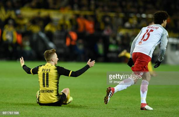 Marco Reus of Dortmund gestures during UEFA Europa League Round of 16 match between Borussia Dortmund and FC Red Bull Salzburg at the Signal Iduna...