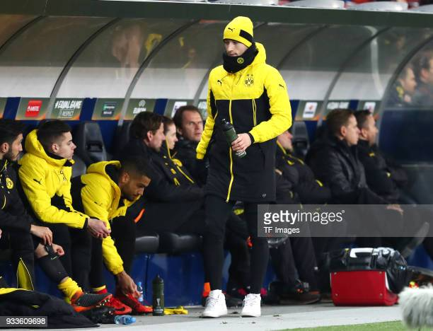 Marco Reus of Dortmund goes to the bench during UEFA Europa League Round of 16 second leg match between FC Red Bull Salzburg and Borussia Dortmund at...