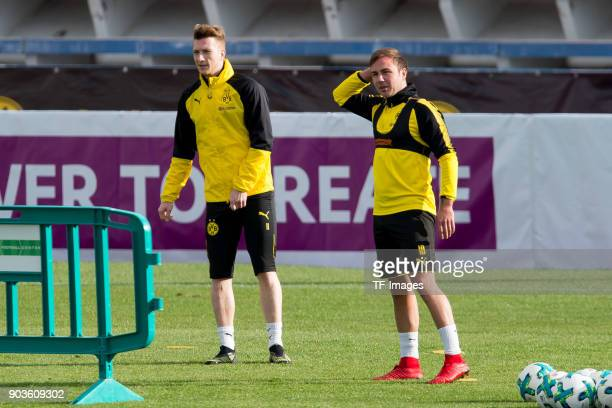 Marco Reus of Dortmund look on and Mario Goetze of Dortmund gestures during the Borussia Dortmund training camp at Marbella Football Center on...