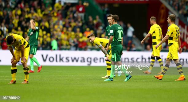 Marco Reus of Dortmund looks dejected after the Bundesliga match between SV Werder Bremen and Borussia Dortmund at Weserstadion on April 29 2018 in...