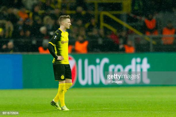Marco Reus of Dortmund looks dejected during the UEFA Europa League Round of 16 match between Borussia Dortmund and FC Red Bull Salzburg at the...