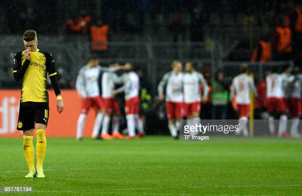 Marco Reus of Dortmund looks dejected during UEFA Europa League Round of 16 match between Borussia Dortmund and FC Red Bull Salzburg at the Signal...