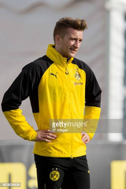 Marco Reus of Dortmund looks on during the Borussia Dortmund training camp at Marbella Football Center on January 07 2018 in Marbella Spain
