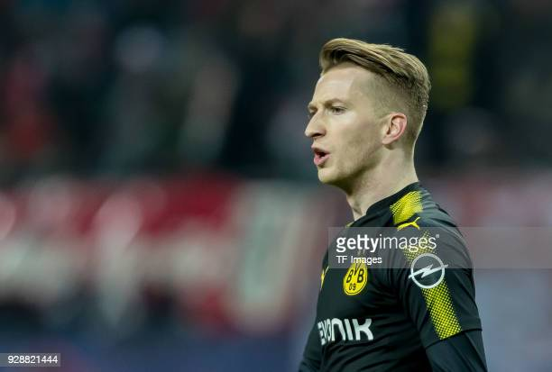 Marco Reus of Dortmund looks on during the Bundesliga match between RB Leipzig and Borussia Dortmund at Red Bull Arena on March 3 2018 in Leipzig...