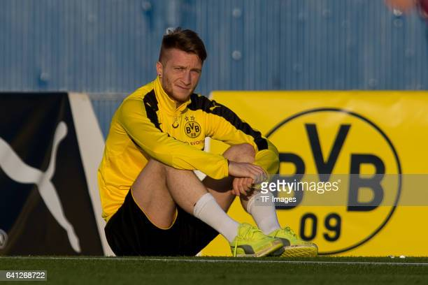 Marco Reus of Dortmund looks on during the fifth day of the training camp in Marbella on January 09, 2017 in Marbella, Spain.