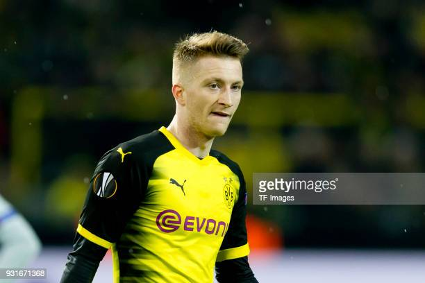 Marco Reus of Dortmund looks on during the UEFA Europa League Round of 16 match between Borussia Dortmund and FC Red Bull Salzburg at the Signal...