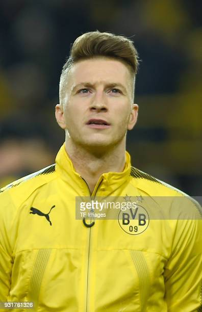 Marco Reus of Dortmund looks on prior to UEFA Europa League Round of 16 match between Borussia Dortmund and FC Red Bull Salzburg at the Signal Iduna...
