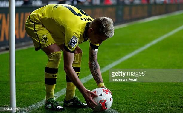 Marco Reus of Dortmund prepares to take a corner during the Bundesliga match between Bayer 04 Leverkusen and Borussia Dortmund at BayArena on...