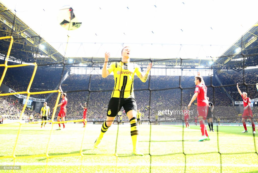 Marco Reus of Dortmund reacts after scoring an ofside goal during the Bundesliga match between Borussia Dortmund and 1. FC Koeln at Signal Iduna Park on April 29, 2017 in Dortmund, Germany.