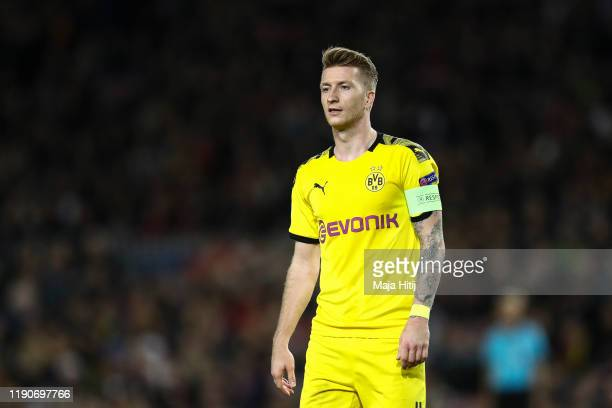Marco Reus of Dortmund reacts after the UEFA Champions League group F match between FC Barcelona and Borussia Dortmund at Camp Nou on November 27,...