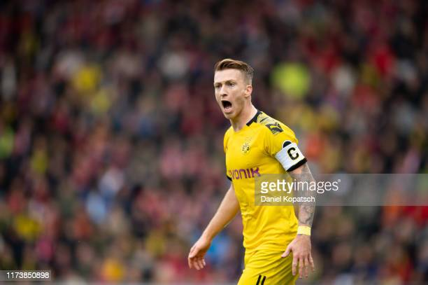 Marco Reus of Dortmund reacts during the Bundesliga match between SportClub Freiburg and Borussia Dortmund at SchwarzwaldStadion on October 5 2019 in...