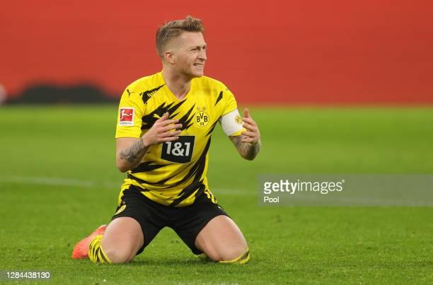 Marco Reus of Dortmund reacts during the Bundesliga match between Borussia Dortmund and FC Bayern Muenchen at Signal Iduna Park on November 07, 2020...