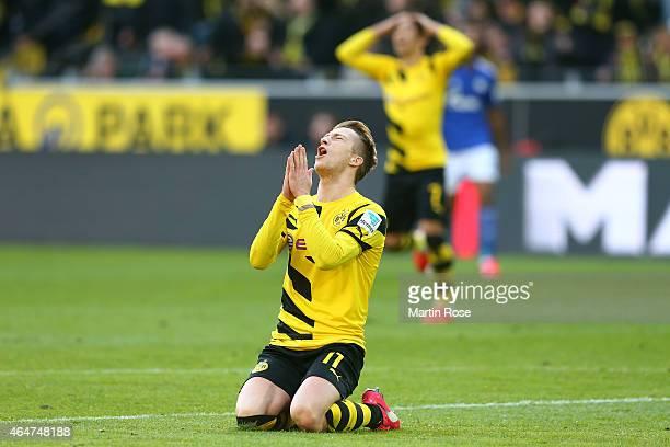 Marco Reus of Dortmund reacts during the Bundesliga match between Borussia Dortmund and FC Schalke 04 at Signal Iduna Park on February 28 2015 in...