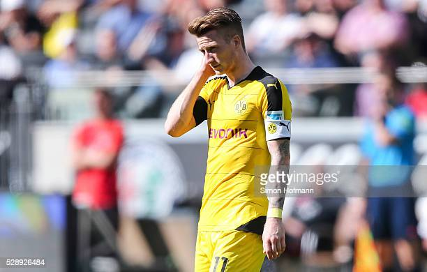 Marco Reus of Dortmund reacts during the Bundesliga match between Eintracht Frankfurt and Borussia Dortmund at CommerzbankArena on May 07 2016 in...