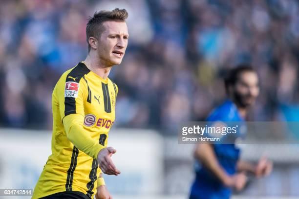 Marco Reus of Dortmund reacts during the Bundesliga match between SV Darmstadt 98 and Borussia Dortmund at Jonathan Heimes Stadion am Boellenfalltor...