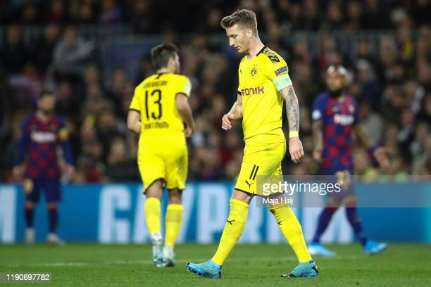 Marco Reus of Dortmund reacts during the UEFA Champions League group F match between FC Barcelona and Borussia Dortmund at Camp Nou on November 27,...