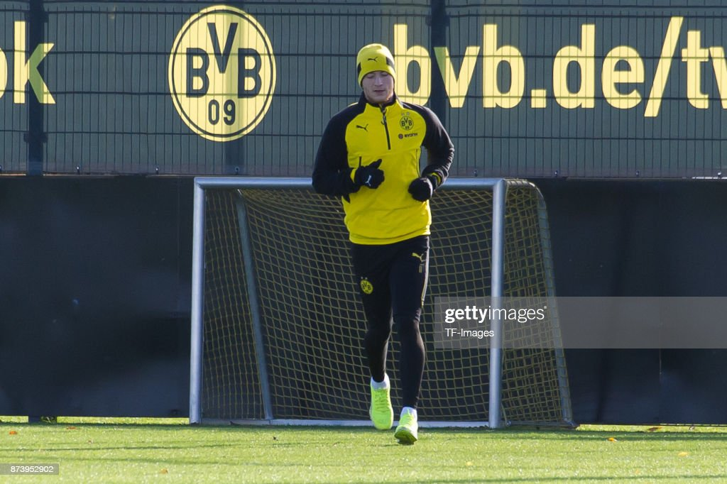 Marco Reus of Dortmund runs during a training session at BVB trainings center on November 5, 2017 in Dortmund.