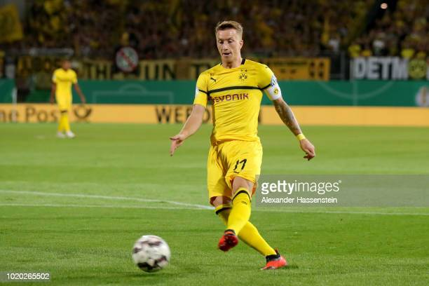 Marco Reus of Dortmund runs with the ball during the DFB Cup first round match between SpVgg Greuther Fuerth and BVB Borussia Dortmund at Sportpark...