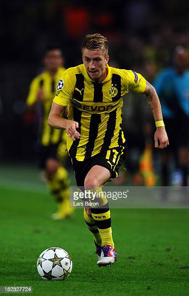 Marco Reus of Dortmund runs with the ball during the UEFA Champions League group D match between Borussia Dortmund and Ajax Amsterdam at Signal Iduna...