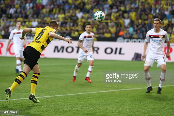 Marco Reus of Dortmund scores a header goal to make it 40 during the Bundesliga match between Borussia Dortmund and Bayer 04 Leverkusen at Signal...