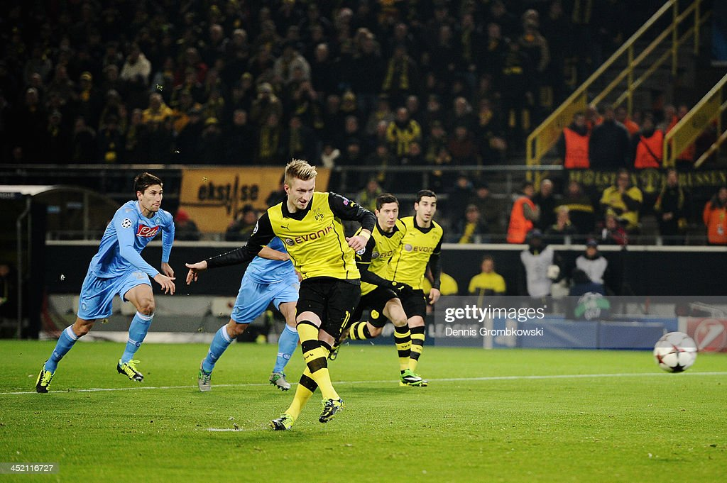 Marco Reus of Dortmund scores his team's first goal during the UEFA Champions League Group F match between Borussia Dortmund and SSC Napoli at Signal Iduna Park on November 26, 2013 in Dortmund, Germany.