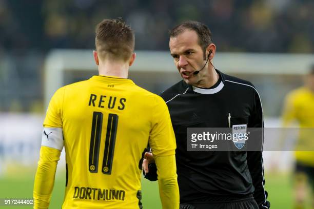 Marco Reus of Dortmund speak with Referee Marco Fritz during the Bundesliga match between Borussia Dortmund and Hamburger SV at Signal Iduna Park on...