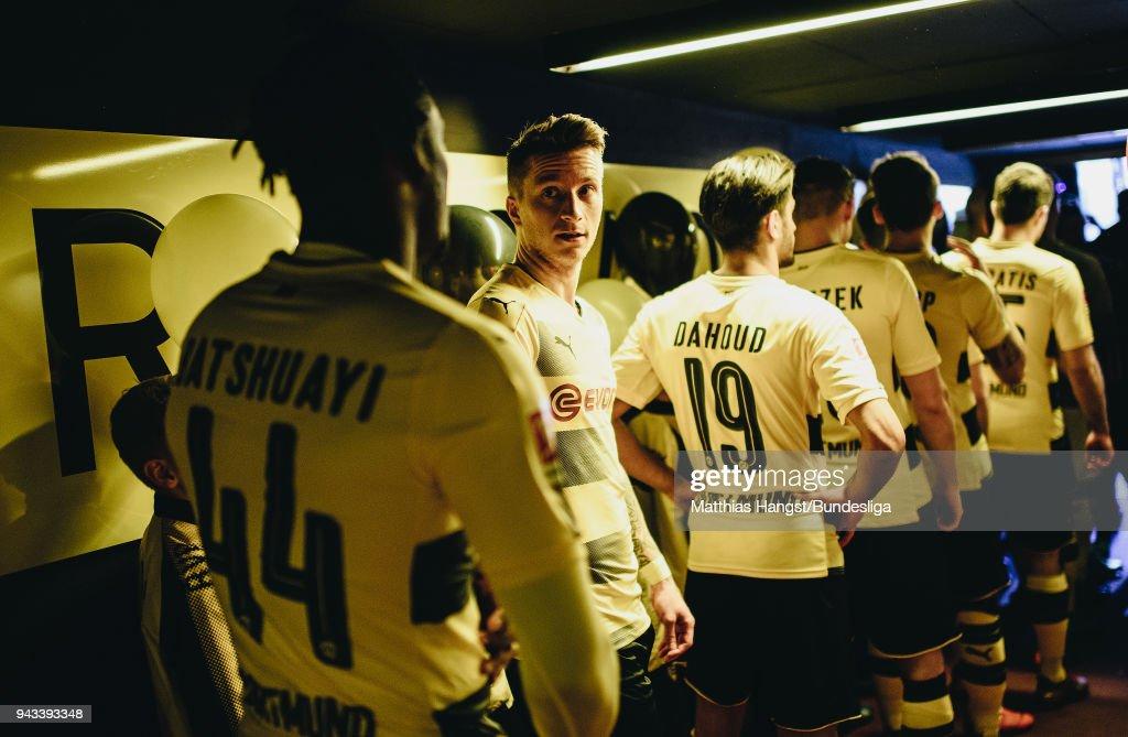 Marco Reus of Dortmund talks to Michy Batshuayi of Dortmund in the players tunnel prior to the Bundesliga match between Borussia Dortmund and VfB Stuttgart at Signal Iduna Park on April 8, 2018 in Dortmund, Germany.