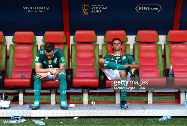 Marco Reus of Germany and Thomas Mueller of Germany look dejected following their sides defeat in the 2018 FIFA World Cup Russia group F match...