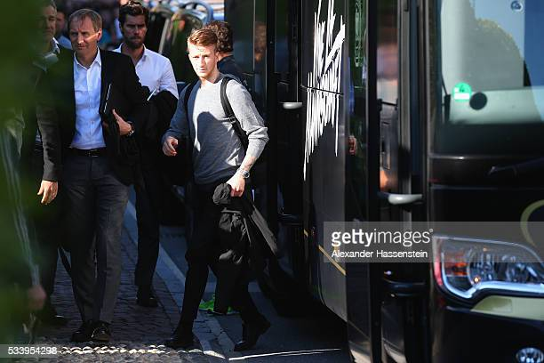 Marco Reus of Germany arrives with the German national team at team hotel Hotel Giardino Ascona on May 24 2016 in Ascona Switzerland