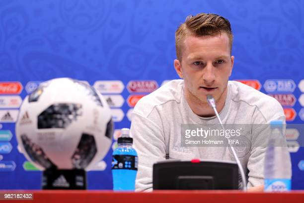 Marco Reus of Germany attends the post mactch press conference followingthe 2018 FIFA World Cup Russia group F match between Germany and Sweden at...