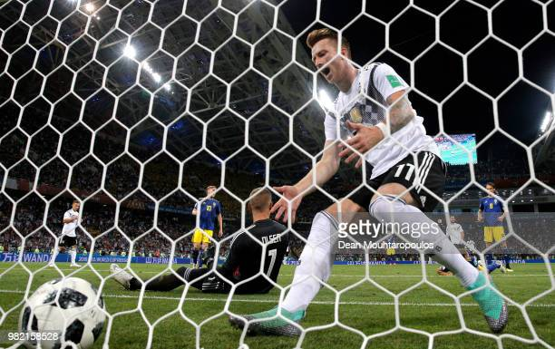 Marco Reus of Germany celebrates after scoring his sides opening goal to make the score 11 during the 2018 FIFA World Cup Russia group F match...