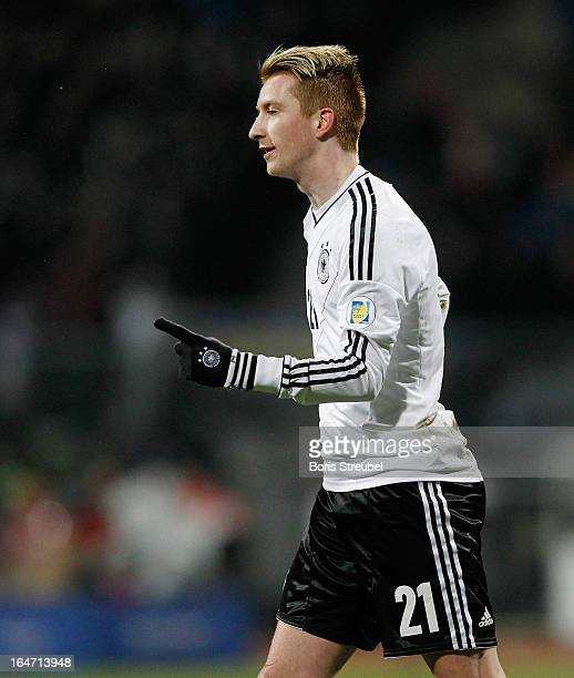 Marco Reus of Germany celebrates his team's first goal during the FIFA 2014 World Cup qualifier group C match between Germany and Kazakhstan at...