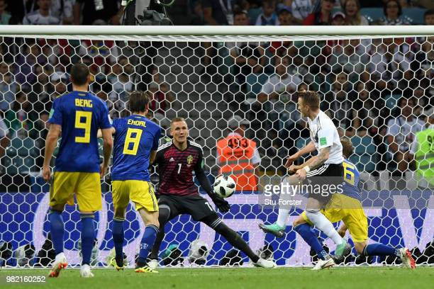 Marco Reus of Germany celebrates scoring his sides opening goal with Mario Gomez to make the score 11 during the 2018 FIFA World Cup Russia group F...