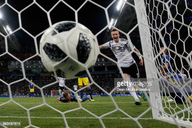 Marco Reus of Germany celebrates scoring his teams first goal of the game during the 2018 FIFA World Cup Russia group F match between Germany and...