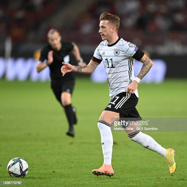 Marco Reus of Germany controls the ball during the 2022 FIFA World Cup Qualifier match between Germany and Armenia at Mercedes Benz Arena on...