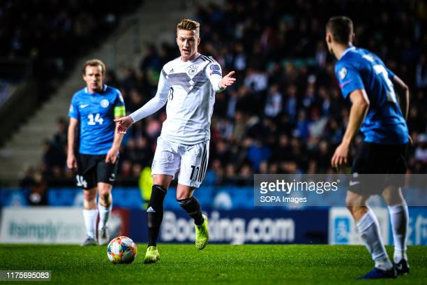 Marco Reus of Germany in action during the Euro 2020 qualifiers game between Estonia and Germany at A. Le Coq Arena. .
