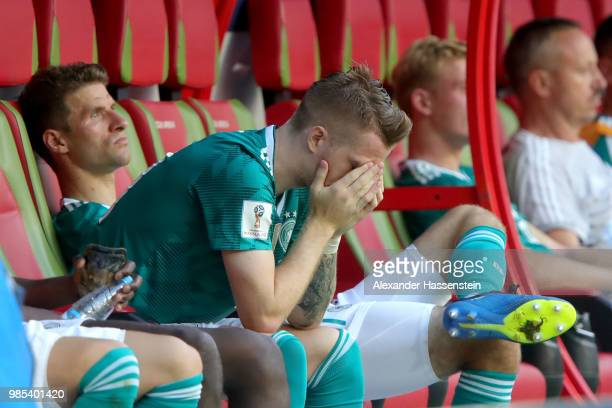 Marco Reus of Germany looks dejected following his sides defeat in the 2018 FIFA World Cup Russia group F match between Korea Republic and Germany at...
