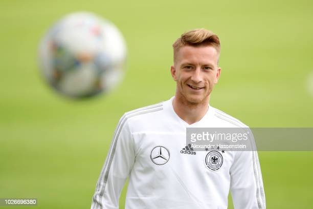 Marco Reus of Germany looks on during a team Germany training session at Bayern Muenchen Campus on September 4 2018 in Munich Germany
