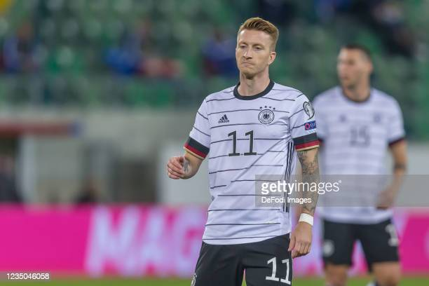 Marco Reus (of Germany Looks on during the 2022 FIFA World Cup Qualifier match between Liechtenstein and Germany at Kybunpark on September 2, 2021 in...
