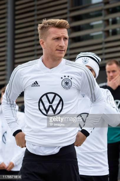 Marco Reus of Germany looks on during the Training Session And Press Conference on October 11, 2019 in Dortmund, Germany. Germany will play against...