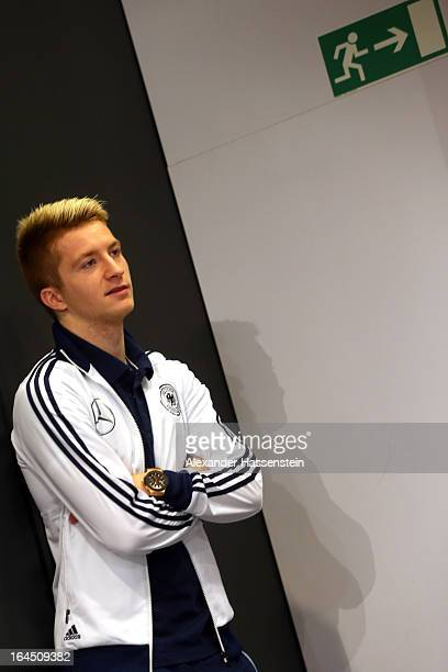 Marco Reus of Germany looks on prior a press conference of the German national football team at adidas World of Sports Brand Center on March 24 2013...