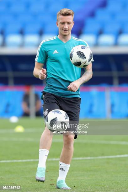 Marco Reus of Germany plays the ball during the Germany Training Press Conference at Fisht Stadium on June 22 2018 in Sochi Russia