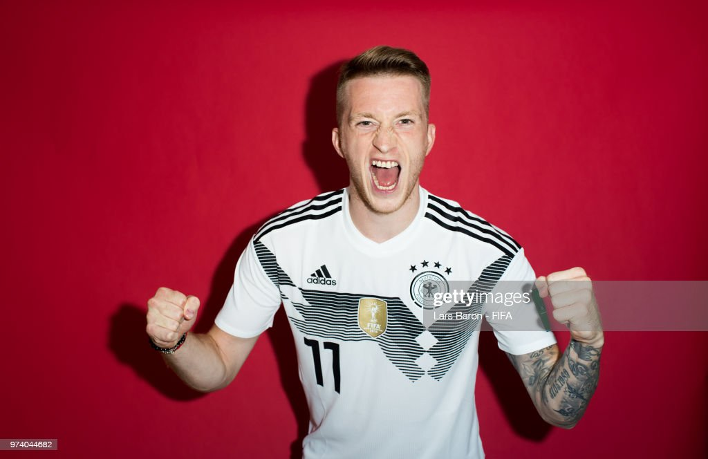 Marco Reus of Germany poses for a portrait during the official FIFA World Cup 2018 portrait session on June 13, 2018 in Moscow, Russia.