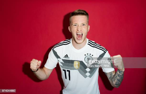 Marco Reus of Germany poses for a portrait during the official FIFA World Cup 2018 portrait session on June 13 2018 in Moscow Russia