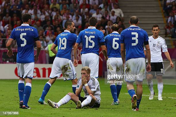 Marco Reus of Germany reacts after a missed opportunity in front of goal during the UEFA EURO 2012 semi final match between Germany and Italy at...