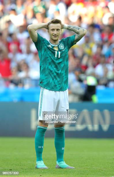 Marco Reus of Germany reacts during the 2018 FIFA World Cup Russia group F match between Korea Republic and Germany at Kazan Arena on June 27 2018 in...