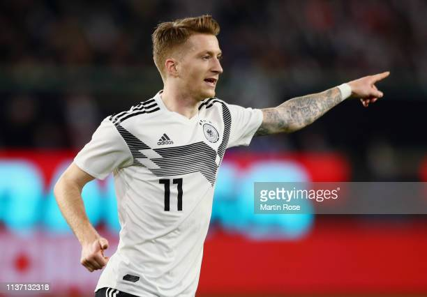 Marco Reus of Germany reacts during the International Friendly match between Germany and Serbia at Volkswagen Arena on March 20 2019 in Wolfsburg...