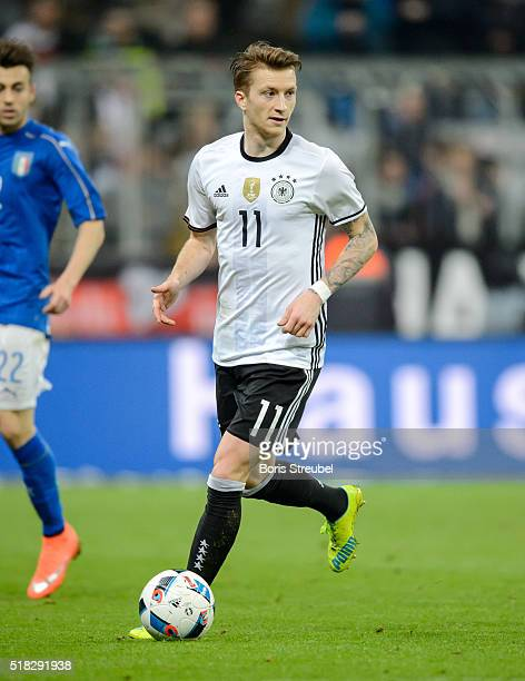 Marco Reus of Germany runs with the ball during the International Friendly match between Germany and Italy at Allianz Arena on March 29 2016 in...